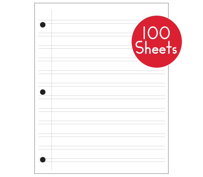 Regular Notebook Paper (100 Sheets)